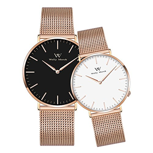 Welly Merck Couple Watches Valentines Day Gifts For Her and His Pair watch Swiss Quartz Movement 36 & 42 mm White & Black Dial Rose Gold Mesh Interchangeable Band 50M Water Resistant by WM WELLY MERCK