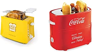 Nostalgia TCS2 Grilled Cheese Toaster with Easy-Clean Toaster Baskets and Adjustable Toasting Dial & HDT600COKE Coca-Cola Pop-Up 2 Hot Dog and Bun Toaster, Red