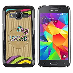 LECELL--Funda protectora / Cubierta / Piel For Samsung Galaxy Core Prime SM-G360 -- Gold Pattern Bow Text Stripes Polka --