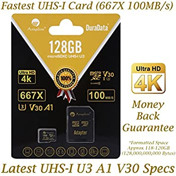 128GB Micro SD SDXC V30 A1 Memory Card Plus Adapter Pack (Class 10 U3 UHS-I MicroSD XC Extreme Pro) Amplim 128 GB Ultra High Speed 667X 100MB/s UHS-1 TF MicroSDXC 4K Flash - Cell Phone, Drone, Camera
