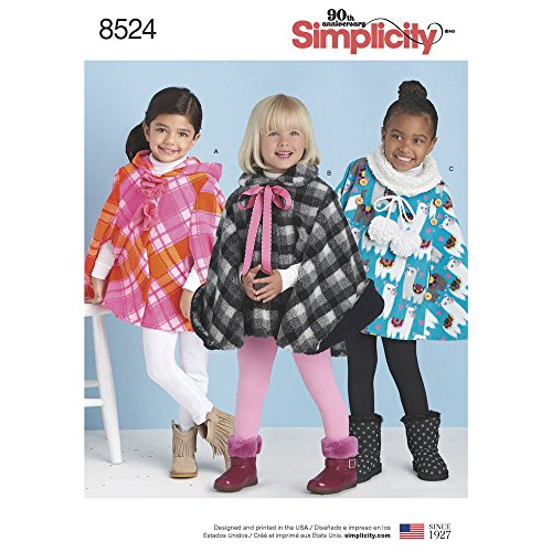 Simplicity Sewing Pattern D0852 / 8524 - Childs Poncho, A(3-4-5-6-7-8) ()
