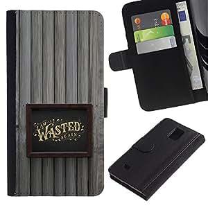 A-type (Marco borracho Alcohol Oro Wasted) Colorida Impresión Funda Cuero Monedero Caja Bolsa Cubierta Caja Piel Card Slots Para Samsung Galaxy Note 4 IV