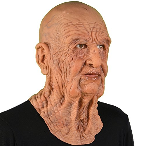[Super Soft DOA Pull-Over Halloween Costume Party Mask Natural Latex USA Made] (Latex Mask Old Man)