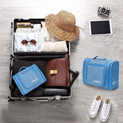 Neceser para Colgar Grande Bolsas de Aseo con Gancho para Mujer y Hombre 6L Impermeable Neceser de Viaje Organizador de Cosm/éticos Plegable para Hogar Vacaciones Viaje Gimnasio Azul
