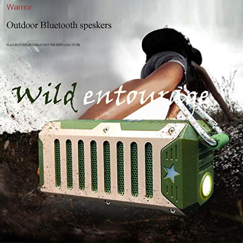 (JDgoods Portable Wireless Bluetooth Speaker With Super Bright Flashlight, HD Stereo Subwoofer Waterproof Anti-Fall Rugged Outdoor Small Speakers for Travel, Riding, Camping And Hiking (Green) )