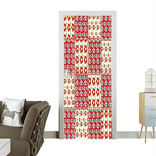 (Homesonne 3D Photo Door Murals Quilt Pattern Spring Garden Daisi Light Yellow Turquoise Red Easy to Clean and applyW17.1 x H78.7 INCH)