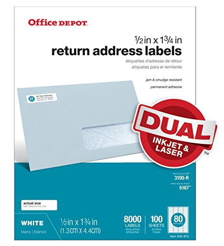 Office Depot White Inkjet/Laser Return Address Labels, 1/2in. x 1 3/4in, Pack of 8,000, 505-O004-0014