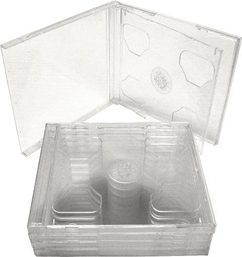5 Double Slimline CD Jewel Boxes with Clear Tray #CD2R10CL(HOLDS 2 CDS IN THE SPACE OF ONE STANDARD SIZED JEWEL BOX!) by Square Deal Recordings & Supplies
