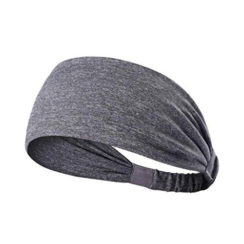 YJYDADA Headband,New Wide Sports Headband Stretch Elastic Yoga Running Headwrap Hair Band (Gray)