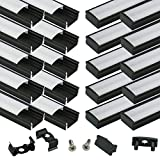Muzata 20 Pack 1M/3.3ft Black Aluminum LED