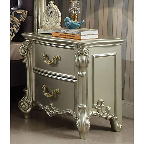 Benjara Royal Wooden Storage Nightstand with Antique Pull Handles, Champagne,