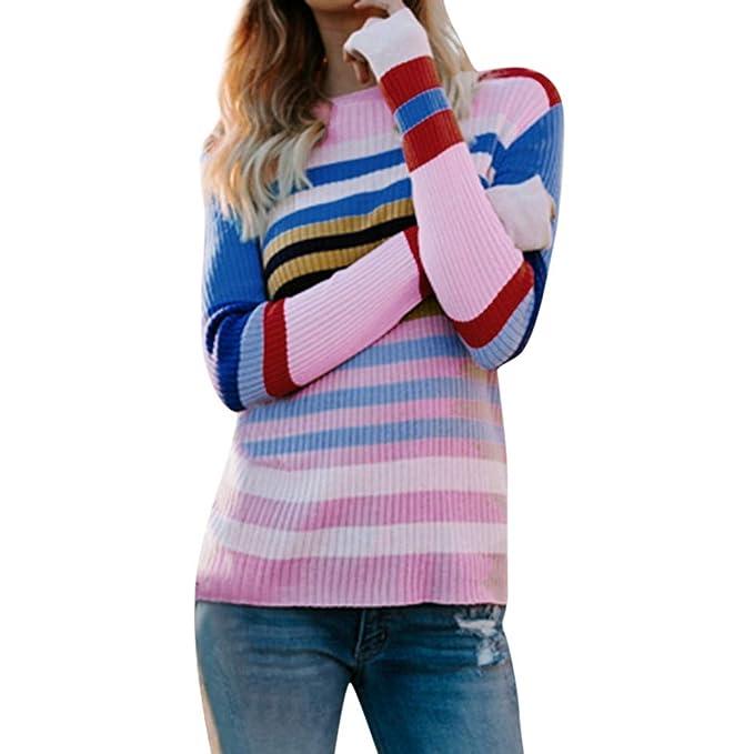 OSYARD ¡ Venta Online! Sudadera señoras Suéter, Mujeres más Franja de Color Punto Suéter Casual Tejer Blusa Slim fit Chaqueta Manga Larga Cuello Redondo ...