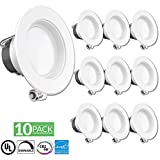 "SUNCO 10 Pack - 11Watt 4 ""- inch Energy Star Registró Downlight con LED Downlight Retrofit Baffle Kit de iluminación empotrada, 3000K Warm White LED Light, Wet Location - 600LM, CRI 90"