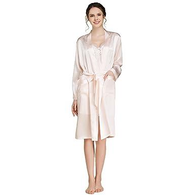 4ce396eadd ForeverSilk Women s Pure Silk Robe Bathrobe Sleepwear Light Pink Size XL  (One Robe)