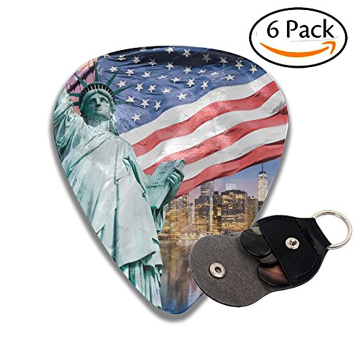 Wxf United States USA Touristic Concept Collection Statue Of Liberty NYC Cityscape Flag Stylish Celluloid Guitar Picks Plectrums For Guitar Bass .96mm 6 ()