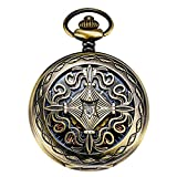 Treeweto Steampunk Copper Case Skeleton Mechanical Pocket Watch Men's Watches