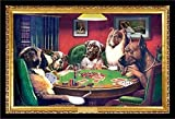 Framed C.M. Coolidge (Bold Bluff, Dogs Playing Poker) 36x24 Wood Framed Poster Art Print