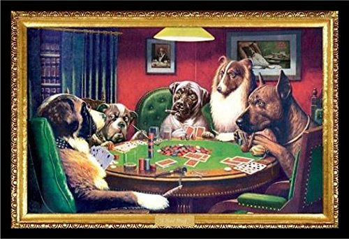 Framed C.M. Coolidge (Bold Bluff, Dogs Playing Poker) 36x24 Wood Framed Poster Art Print by Generic
