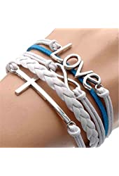 TWINKLE Bracelet Vintage Silver Infinite Bracelet Love White Blue Leather Rope Cross Infinity (2)