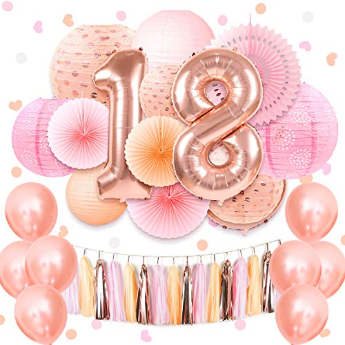 NICROLANDEE Coral Pink Sweet 18th Birthday Party Supplies 40inch Rose Gold 18 Number Foil Balloon Hanging Tissue Fans Eyelet Paper Lantern Sprinkle Table Confetti for Girls Sweet Eighteen Decorations