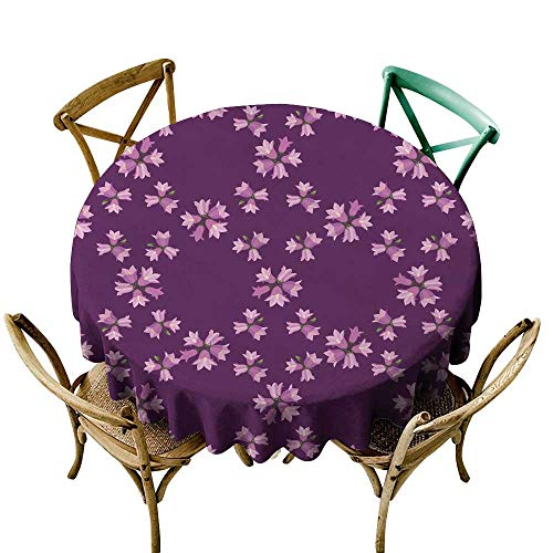 SKDSArts Round Table Cloth bluebells Seamless Ornamental Wallpaper Summer Meadow 1 D50,Printed Tablecloth
