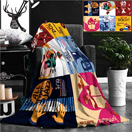 (Nalagoo Unique Custom Flannel Blankets Colorful Jazz Festival Musicians Singers And Musical Instruments Poster Set Flat Isolated Super Soft Blanketry for Bed Couch, Throw Blanket 70