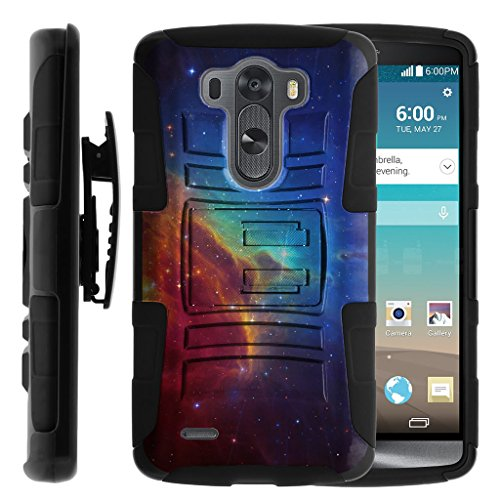 TurtleArmor | LG G3 Case | D850 | D855 | D851 | VS985 | LS990 [Hyper Shock] Hybrid Dual Layer Armor Holster Belt Clip Case Kickstand - Colorful Nebula Galaxy