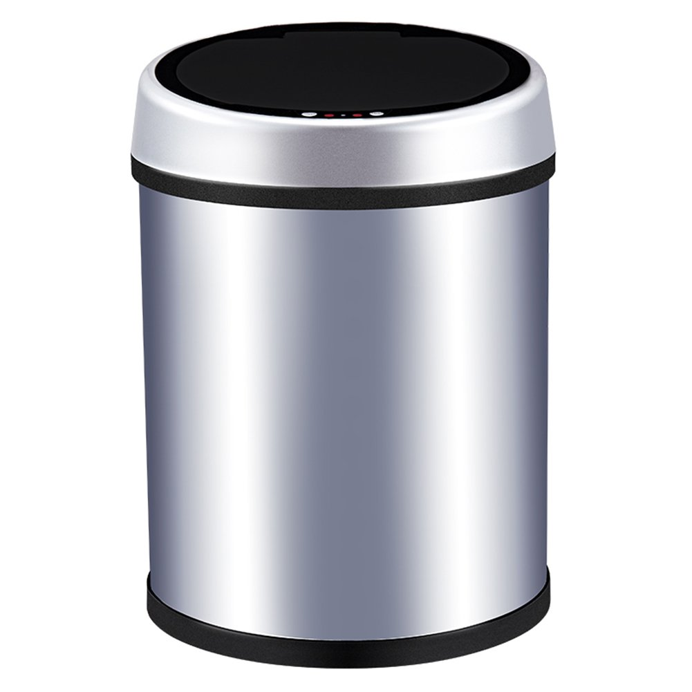 M3M Automatic Trash Stainless Steel Waterproof Sensor Trash Can Kitchen Bedroom Outdoor Silver,Black,6L