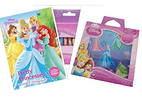 Disney Princess Coloring and Sticker Set Bundle, with 1 Pretty Princesses Coloring Book, 1 Disney Princess Sticker Activity Kit and 1 Disney Princess Crayons Set, 32ct - Princess Activity Kit