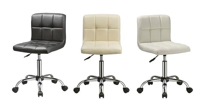 Sgabello sedia scrivania similpelle bianco girevole regolabile in
