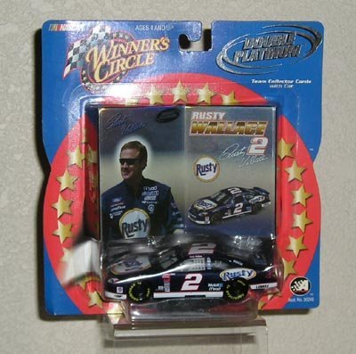 Winner's Circle Double Platinum Rusty Wallace #2 Rusty 1/43 scale Die Cast Car with Team Collector Cards - Rusty Wallace Nascar Card