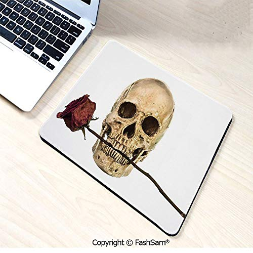 Non-Slip Rubber Mouse Pads Skull with Dry Red Rose in Teeth Anatomy Death Eye Socket Jawbone Halloween Art Decorative for Computers Laptop Office(W9.85xL11.8) -
