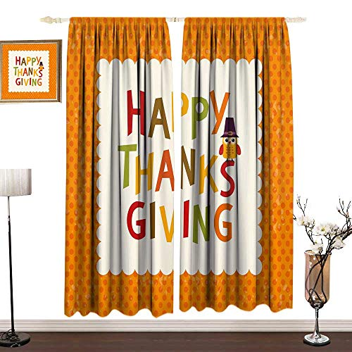 (Kids Thanksgiving 3D Printed Pattern Curtain Drapes for Babys Room Little Owl with Pilgrims Hat Celebratory Phrase and Polka Dots Indoor Darkening Curtains W120 x L108 IN Orange Multicolor)