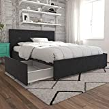 King Size Bed with Drawers Novogratz Kelly Bed with Storage, Queen, Dark Gray Linen