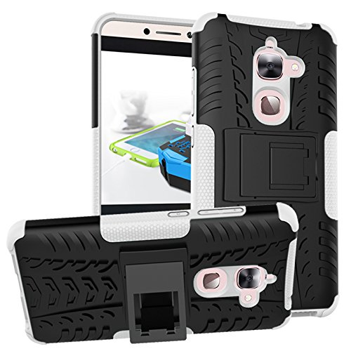 LeEco Le S3 Case, Le 2 Case - Heavy Duty Rugged Impact 2 in 1 Hybrid Case Soft Hard Double Protection Shockproof with Kickstand Back Cover for Letv LeEco Le S3 x626/Le 2/Le 2 Pro (White)