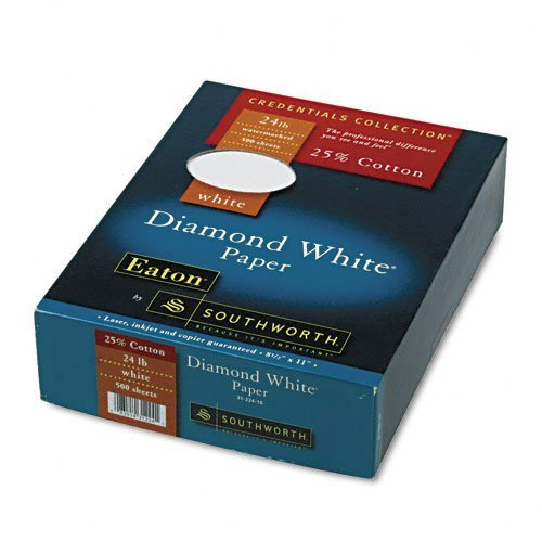Credentials Collection Paper, Diamond White, 24#, 8-1/2 x 11, 500 Sheets per Box by Southworth