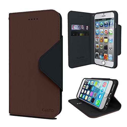 iPhone 6S Plus Case, Cellto PU Leather Wallet Cover Stand and Reversible Magnetic Flap Flip Cover for iPhone 6 Plus (2014) / 6S Plus (2015) - Dark Brown/Black (Leather Stand)