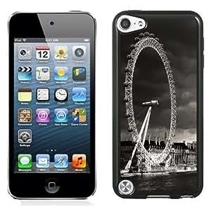 Fashionable Custom Designed iPod Touch 5 Phone Case With London Eye Black And White_Black Phone Case