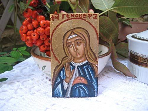 - St. Genevieve of Paris catholic orthodox mini icon gift- home shrine home altar