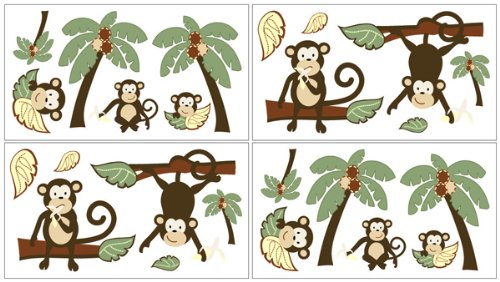 Sweet Jojo Designs Monkey Peel and Stick Wall Decal Stickers Art Nursery Decor - Set of 4 Sheets ()