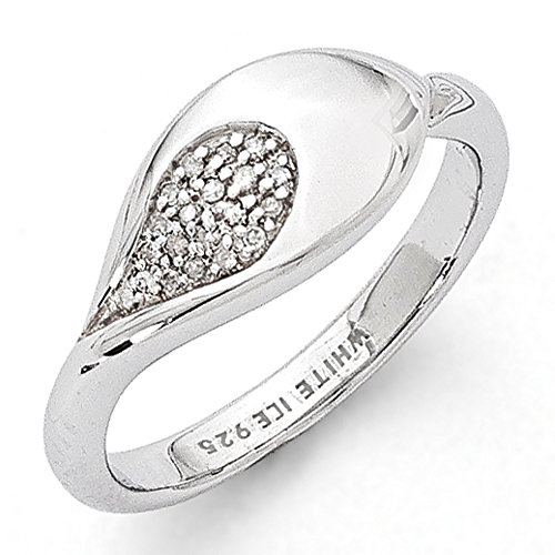 Sterling Silver Rain Drop Design with .07ct Diamonds Anniversary Band - Size - Pilot Drop Band The