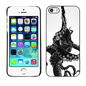 For Apple iPhone 5 / iPhone 5S Case , Black White Sea Animal Monster - Diseño Patrón Teléfono Caso Cubierta Case Bumper Duro Protección Case Cover Funda