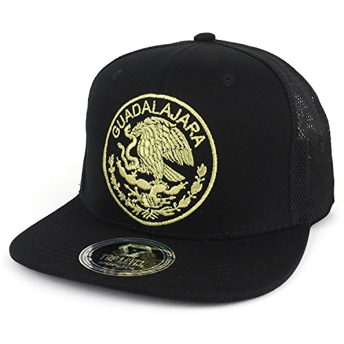 (Trendy Apparel Shop City of Mexico Eagle Embroidered Flatbill Trucker Mesh Cap - Guadalajara Black)