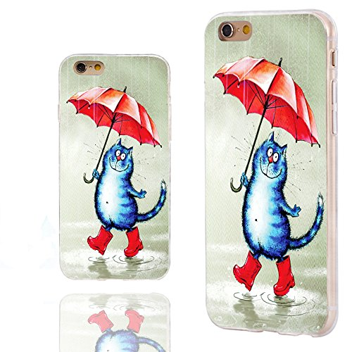 iPhone 6s Case,iPhone 6 Case,Case for iPhone 6 6s 4.7 Inch,ChiChiC [Arty Series] Full Protective Slim Flexible Durable Soft TPU Cases, Cute cat Under an red Umbrella in The rain
