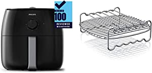 Philips Premium Airfryer XXL with Fat Removal Technology, Black, HD9630/98 & Airfryer Double Layer Rack with Skewers- HD9905/00, For HD9240 models