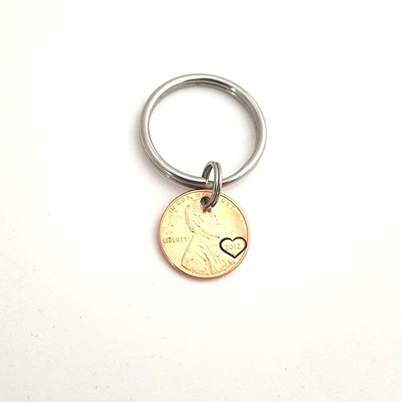 Penny Keychain I Still Do Anniversary Gift Lucky Copper Penny Heart Stamp