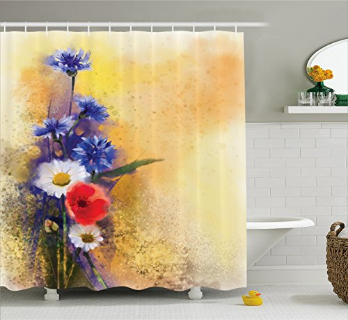 Ambesonne Watercolor Flower Home Decor Shower Curtain, Poppy Flowers Cornflower Pastel Chamomile Petal Beauty Print, Fabric Bathroom Decor Set with Hooks, 84 Inches Extra Long, Yellow Blue