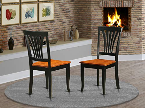 East West Furniture AVC-BLK-W Avon dining chairs - Wooden Seat and Black Hardwood Frame Dining Room Chair Set of 2