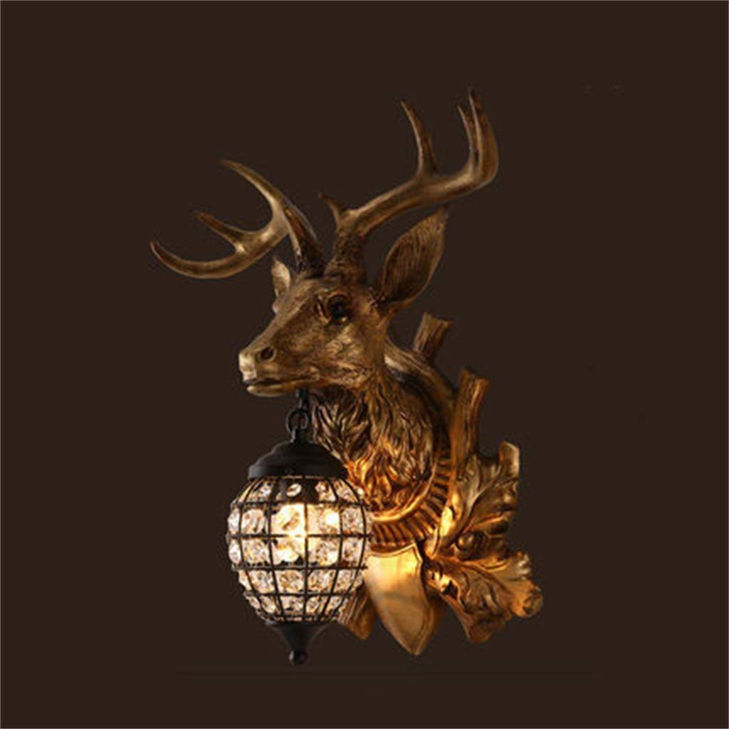 WLBD Deer Heads Antlers Estilo Vintage Lámpara de Pared de Resina 1 Luz, Campo Rural Antler Lámpara de Pared, Sala de Estar, Bar, Café