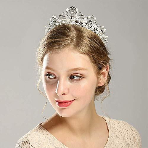 Campsis Rhinestone Bride Princess Crown Pearl Wedding Tiaras Crystal Bridal Jewelry Vintage Hair Accessories for Women and Girls.